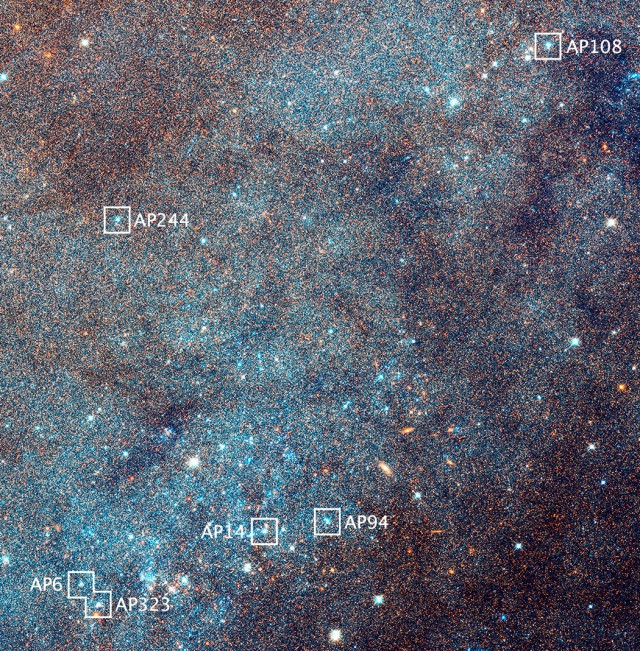 An enlargement of the boxed field in the image above reveals myriad stars and numerous open star clusters as bright blue knots. Hubble's bird's-eye view of M31 allowed astronomers to conduct a larger-than-ever sampling of star clusters that are all at the same distance from Earth — 2.5million light-years. The view is 4,400 light-years across. The six labelled star clusters are shown in greater detail below. Image credit: NASA, ESA, J. Dalcanton, B.F. Williams, and L.C. Johnson (University of Washington), the PHAT team, and R. Gendler.