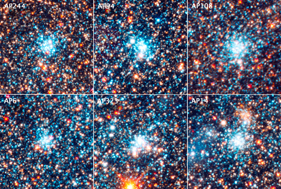 This is a view of six bright blue clusters extracted from the field above. Hubble astronomers discovered that, for whatever reason, nature apparently cooks up stars with a consistent distribution from massive stars to small stars (blue supergiants to red dwarfs). This remains a constant across the galaxy, despite the fact that the clusters vary in mass by a factor of 10 and range in age from 4 million to 24 million years old. Each cluster square is 150 light-years across. Image credit: NASA, ESA, J. Dalcanton, B.F. Williams, and L.C. Johnson (University of Washington), the PHAT team, and R. Gendler.
