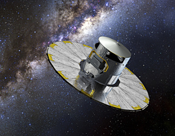 Launched on 19 December 2013, Gaia is a European Space Agency satellite designed for astrometry — accurately measuring the position of approximately 1billion objects over five years with the aim of creating a 3-D space catalogue. Image credit: ESA/D. Ducros.