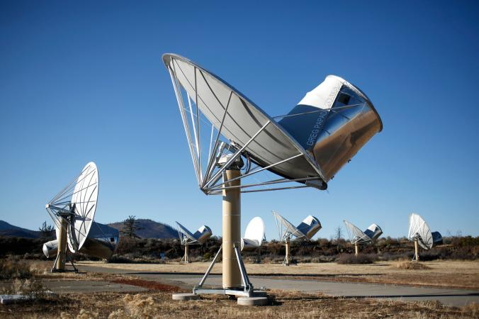 Picture of radio telescopes at the Allen Telescope Array