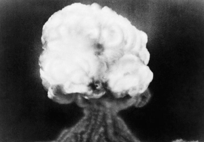 Picture of a mushroom cloud from the first atomic explosion in 1945