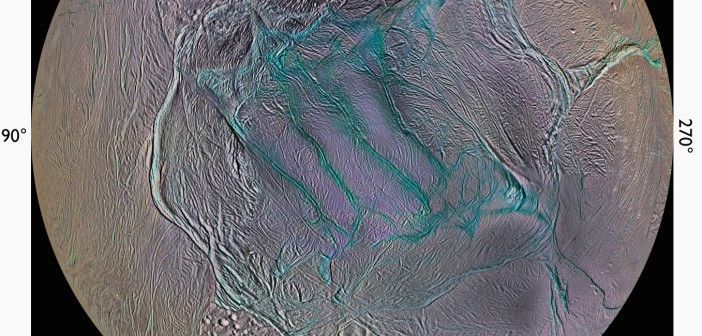 "A view of Enceladus' southern hemisphere in enhanced color (IR-green-UV). The ""tiger stripe"" fractures, the source of plumes venting gas and dust into space, are prominently visible in the center. [NASA/JPL-Caltech/SSI/Lunar and Planetary Institute, Paul Schenk (LPI, Houston)]"