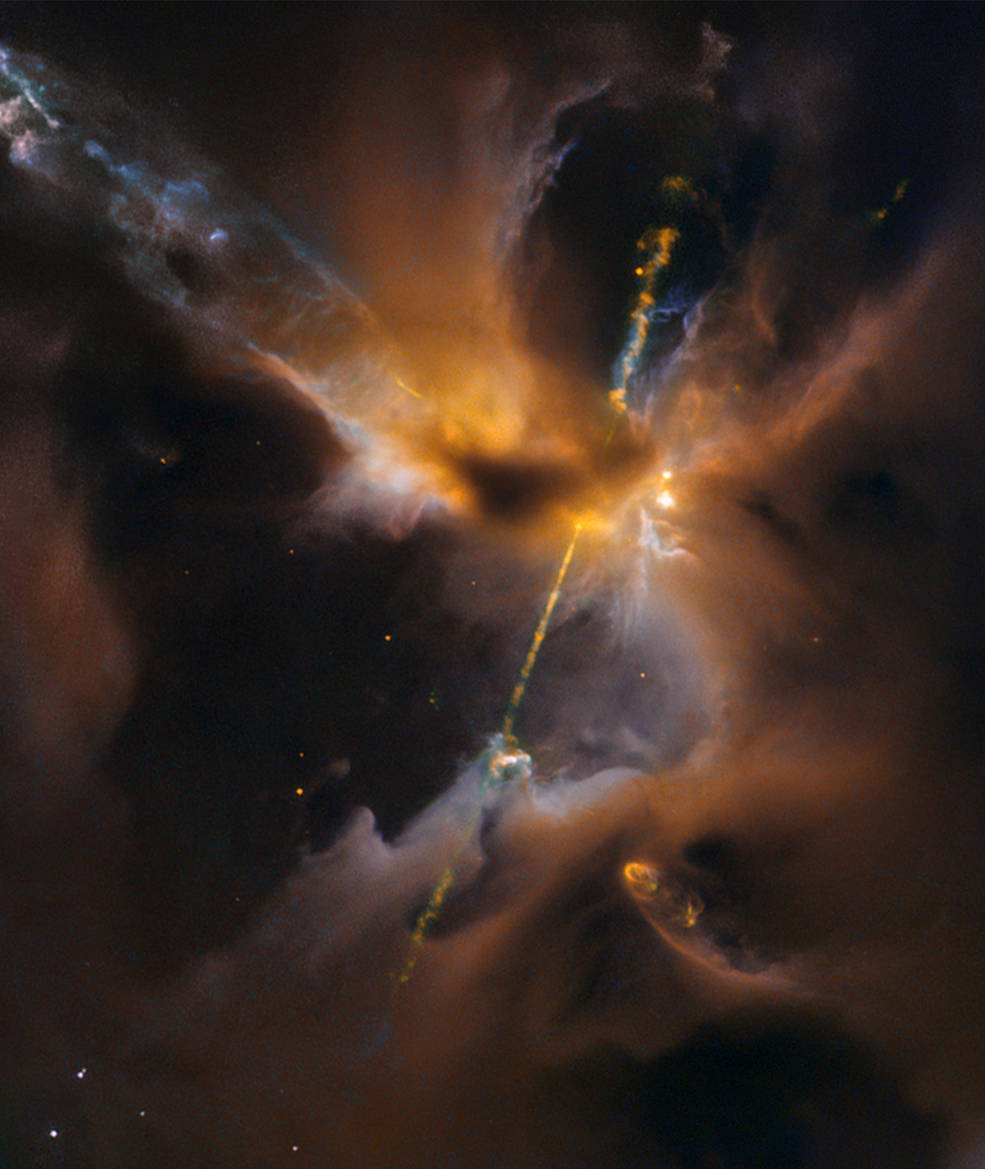 Artist's concept of the fireworks that accompany the birth of a star