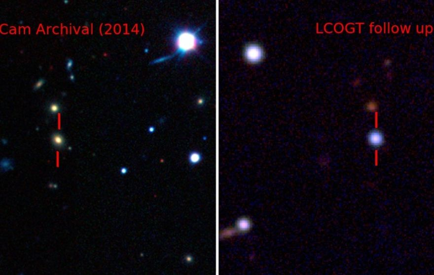 Pseudo-color images showing the host galaxy before the explosion of ASASSN-15lh taken by the Dark Energy Camera (DECam) [Left], and the supernova by the Las Cumbres ObservatoryGlobal Telescope Network (LCOGT) 1-meter telescope network [Right].