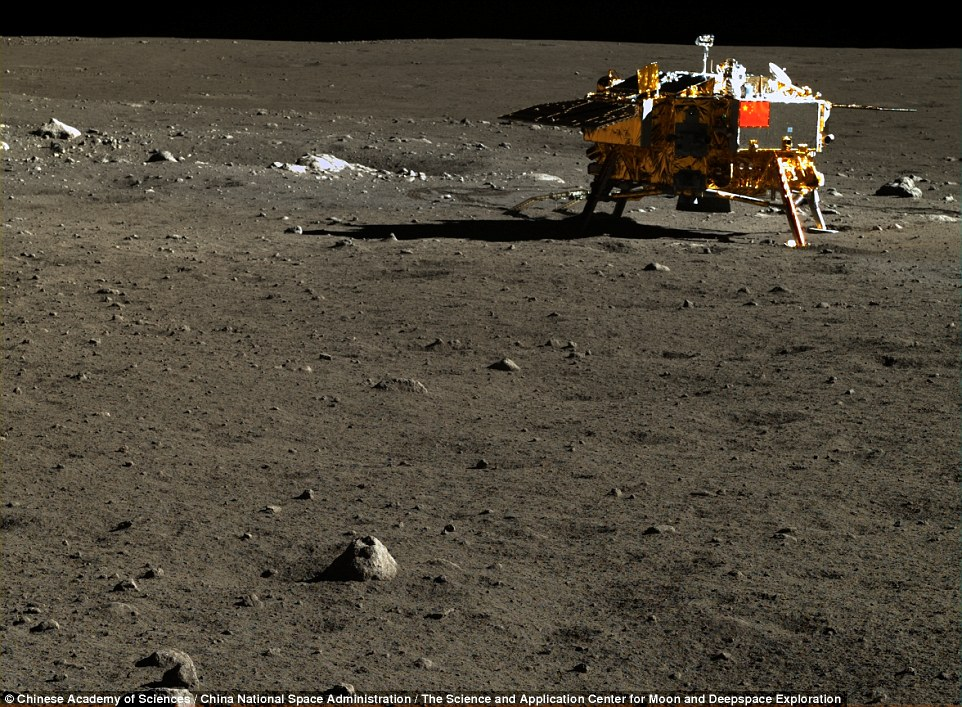 The Chinese space agency has made its library of high-resolution images of the moon available to the public for the first time.The Chang'e 3 lander and Yutu 'Jade rabbit' rover touched down on the lunar surface in December 2013. Pictured is Chang'e snapped by Yutu's camera