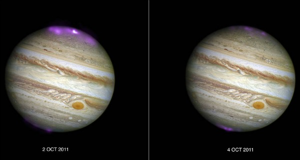 Jupiter's X-ray emission (in magenta and white, for the brightest spot, overlaid on a Hubble Space Telescope optical image) captured by Chandra as a coronal mass ejection (CME) reaches the planet on October 2, 2011, and then after the solar wind subsides on October 4, 2011. The northern lights seem to expand southwards and the brightening is clearly visible as the CME arrives. Image via Joseph DePasquale, Smithsonian Astrophysical Observatory Chandra X-ray Center.