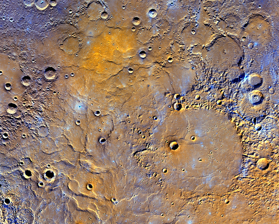 The northern volcanic plains of Mercury dominate this newly released false-color view of the planet by NASA's MESSENGER spacecraft released on May 6, 2016.