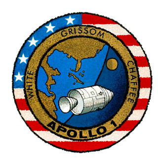 Insignia for Apollo 1 with spacecraft and names of astronauts Grissom, White and Chaffee.