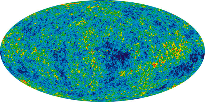 Irregularities in the cosmic background radiation.